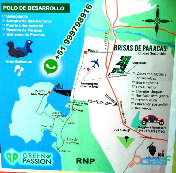 Vendo terrenos de 1,000 mts2 ciudad sostenible brisas de paracas