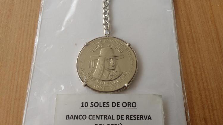 Llavero de plata 9.25 con moneda de coleccion