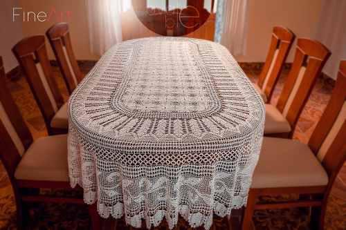 Mantel hecho a crochet ovale blé 8 distribuido por fineart