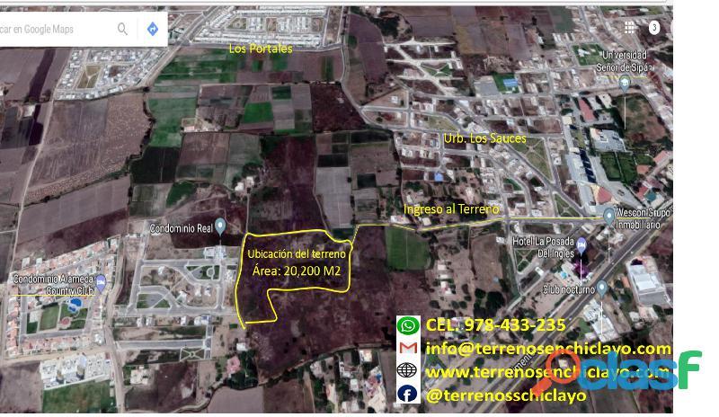 Terreno carretera a pimentel atura univ.señor de sipan de 20,200 m²