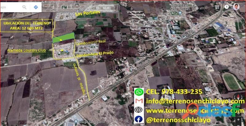 Terreno carretera pimentel chiclayo (altura colegio san agustín) de 12,600 m²