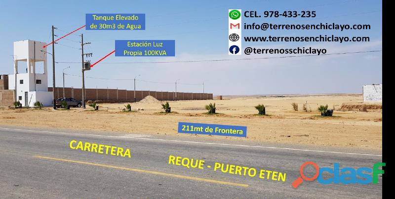 Terreno frente a carretera reque  puerto eten de 136,200 m²