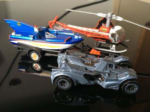 Batman, helicoptero, yate y carro dc comic hot wheels
