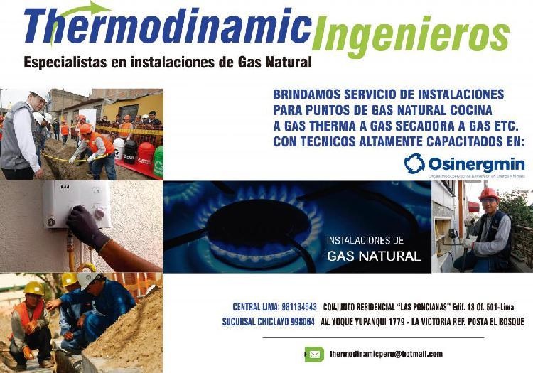 Servicio tecnico//instalacion de puntos de gas natural y glp