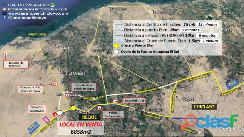 Local ideal para grifo, frente a la panamericana, reque chiclayo de 6858 m²