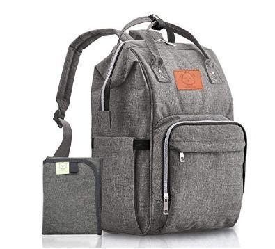 cee4a65807b Mochila bolsa pañales bebe gris negro cambiador unisex