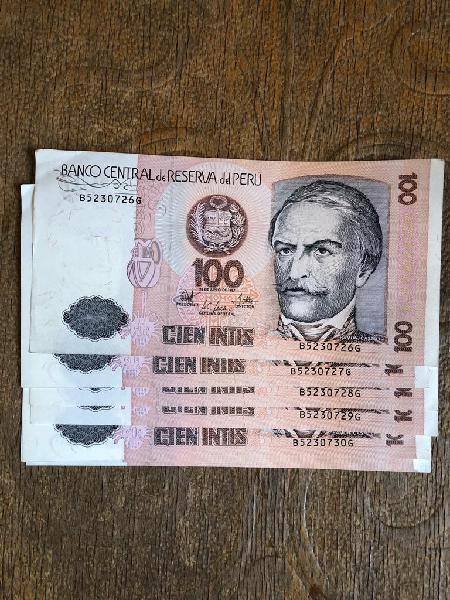 Billetes nuevos sin circular 100 intis