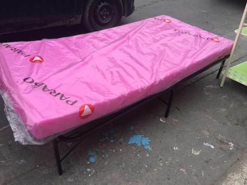Cama plegable 1.85x83 cm tipo cmd + colchón 4 pulgadas