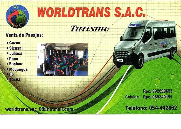 Turismo y transporte de personal