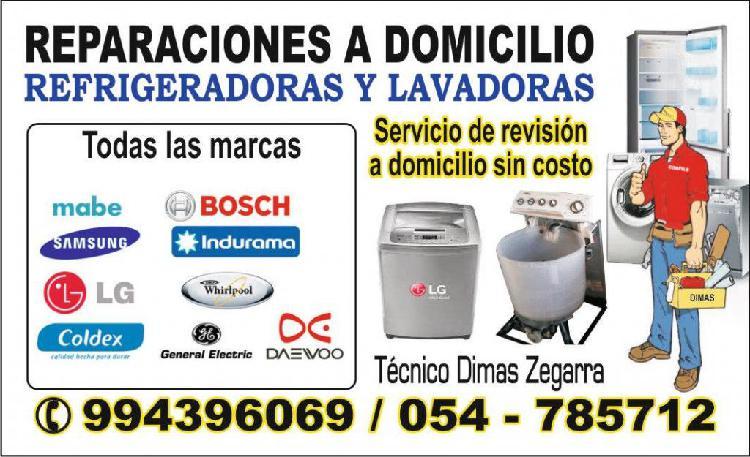 Reparaciones a domicilio: refrigeradoras y lavadoras.
