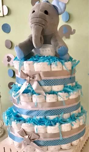 Torta de pañales - baby shower- 3 pisos