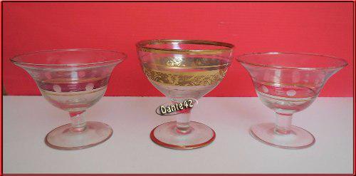 Dante42 lote 3 copas antiguas con filo de oro 1960