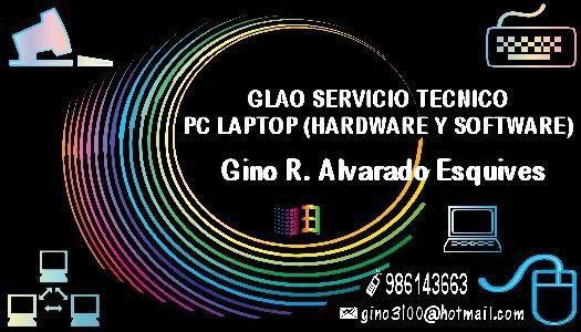 Servicio tecnico pc laptop impresoras y software a domicilio