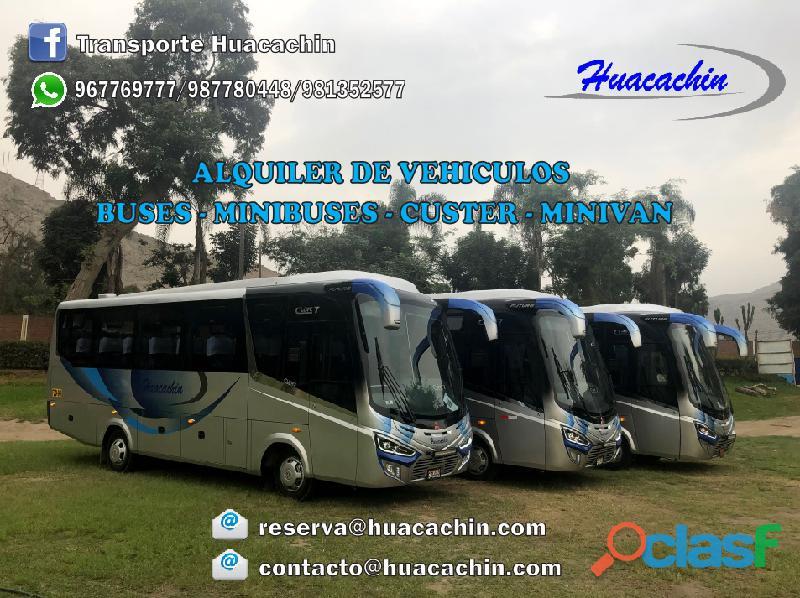 Alquiler de buses, custer, y minivan h1 para transporte turístico, personal y eventos, con permiso a