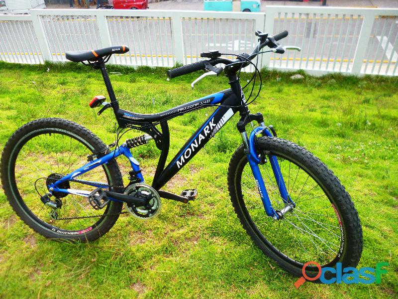 Bicicleta montañera monark shimano arizona 14.0 doble suspension   aro 26