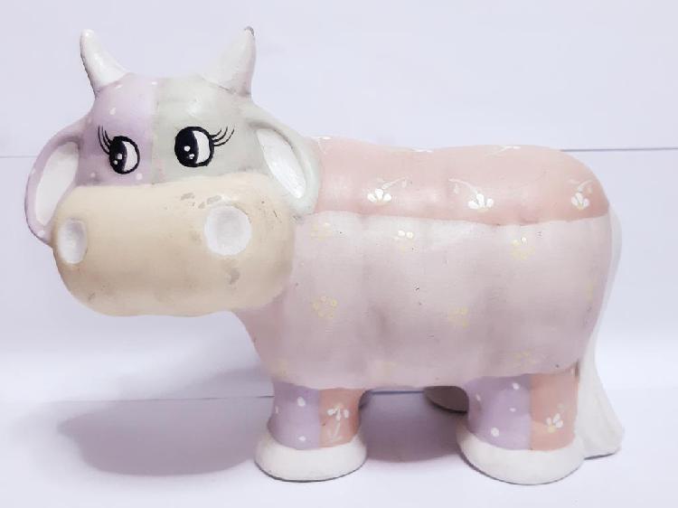 Vaca de colores pasteles de cerámica