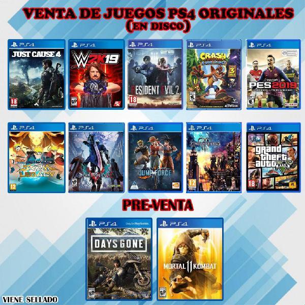 Vendo juegos ps4 nuevos originales y sellados
