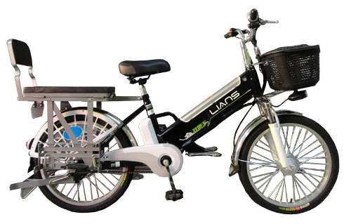 Bicicleta eléctrica con asiento convertible en parrilla