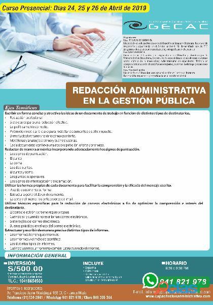 Curso presencial: redacción administrativa en la gestión pública
