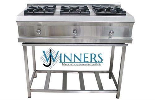 Cocina industrial en acero inoxidable 3 hornillas