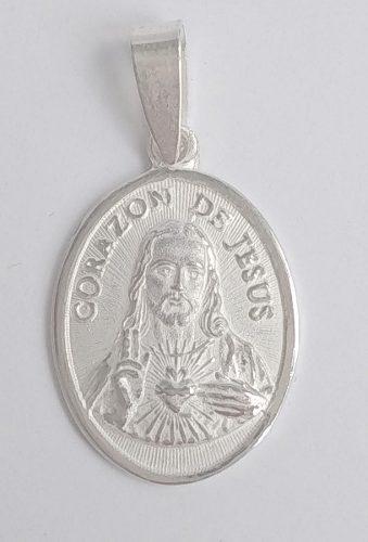 Medalla unisex sagrado corazón de jesús - plata 950.-