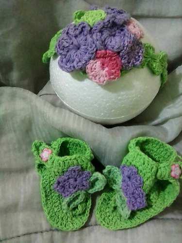 Vincha cintillo sandalias zapaticos tejidos de bebe niña