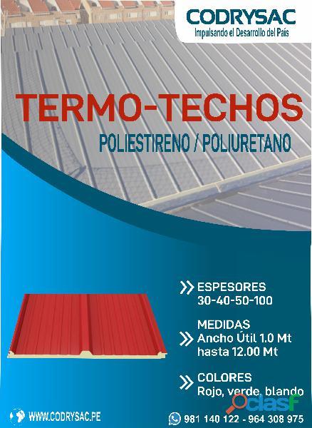 Termotechos y termomuros de poliestireno/poliuretano