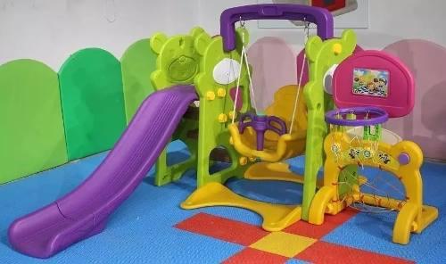Columpio resbaladera basquet arco 4 en 1 niños juegos