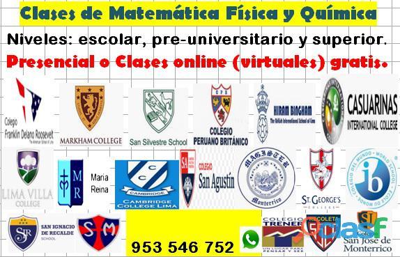 Profesor de matemáticas física y química presencial o en línea gratis cel 953546752