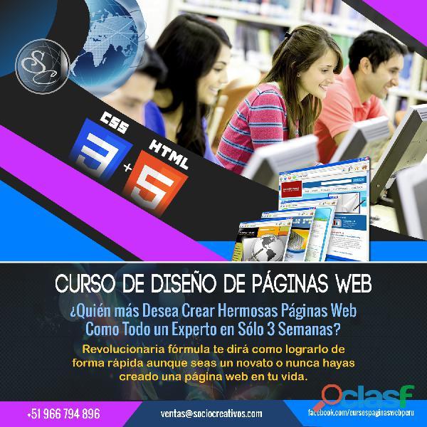 Curso diseño de paginas web modalidad presencial en solo 3 semanas