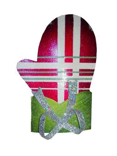 Adorno metal arbol navidad guante 9cm decoracion casa regalo