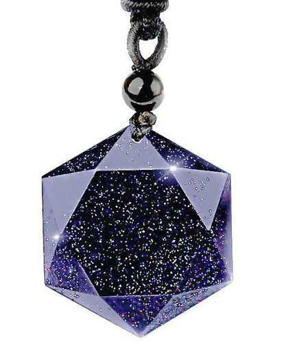 Colgante amuleto de piedra natural azul arenisca hexagrama