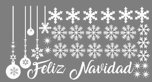 Sticker Vinil Decoracion Mampara Navidad Copos Nieve Regalo