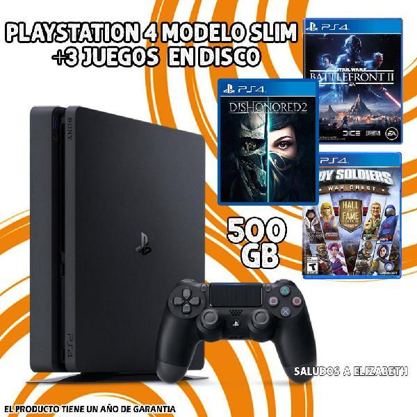 Playstation 4 modelo slim de 500gb con 3 juegos en disco