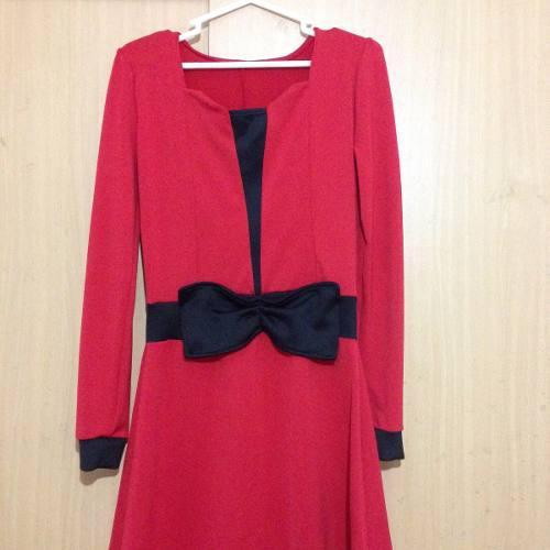 Vestido rojo y negro zara hym ropa mujer sieteshop