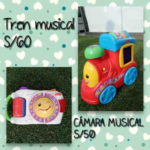 Juegos fisher price tren y camara musical