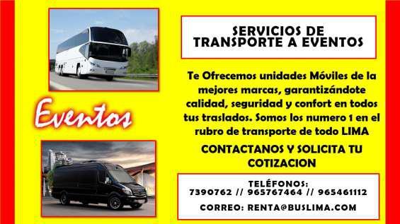 Servicios de transporte a eventos en lima