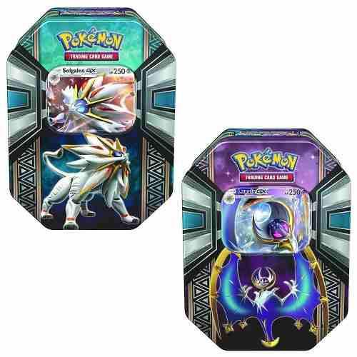Cartas de pokemon sol y luna tin, solgaleo gx y lunala gx