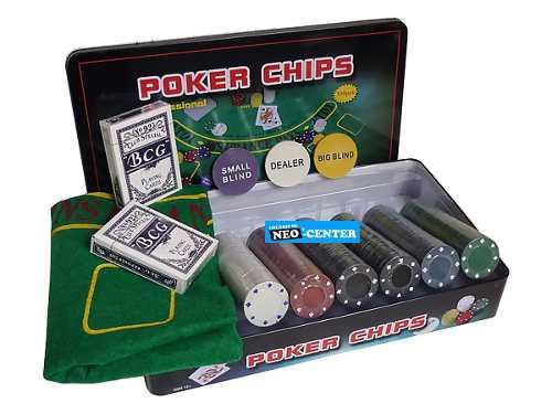 Set poker con 300 fichas livianas 4grms. cod. 200 500 c