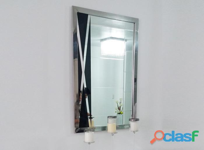 Espejo cristal con marco de acero