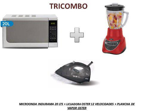 Tricombo microonda indurama 2ol +licuadora oster 12 +plancha