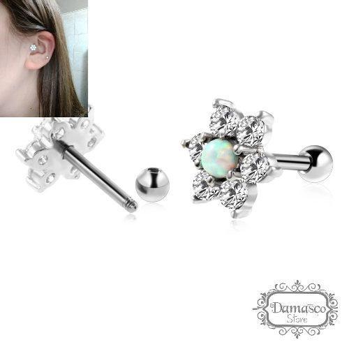 Arete piercing flor en acero quirúrgico, ópalo y cristal
