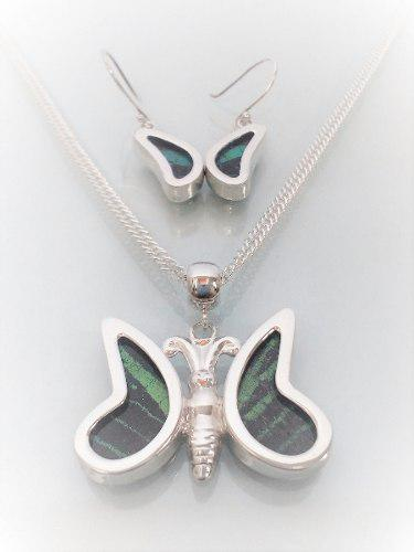 Aretes Y Dije Mariposa Con Alas Naturales (verde-blanco).-