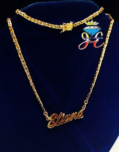 Cadena oro ley 18k collar mónaco nombre mujer cd_17