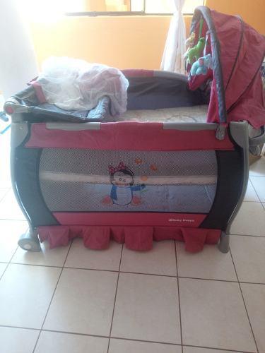 Cuna corral baby happy 3en1 color palo rosa
