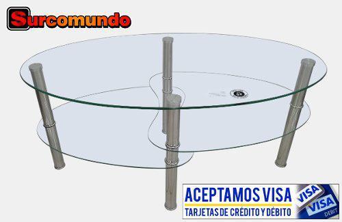 Mesa de centro mod. q745 vidrio templado y acero inoxidable