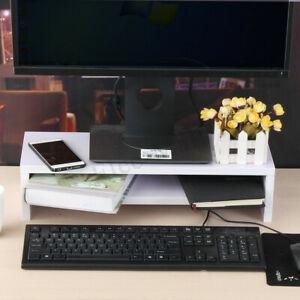 Negro / blanco base para monitor de escritorio estante de ma