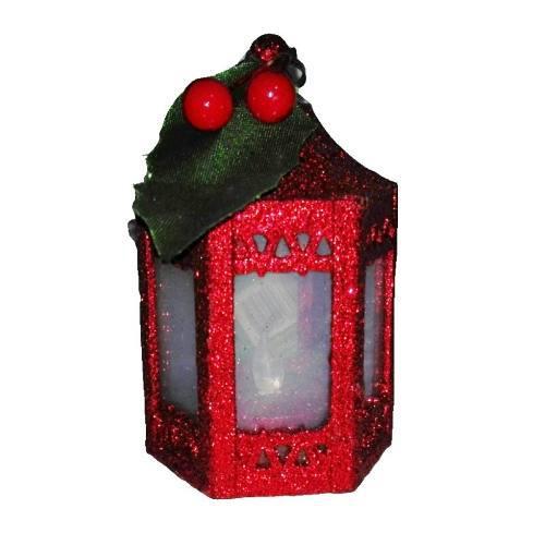 Adorno arbol navidad farol 11 cm luz led boton on/off regalo