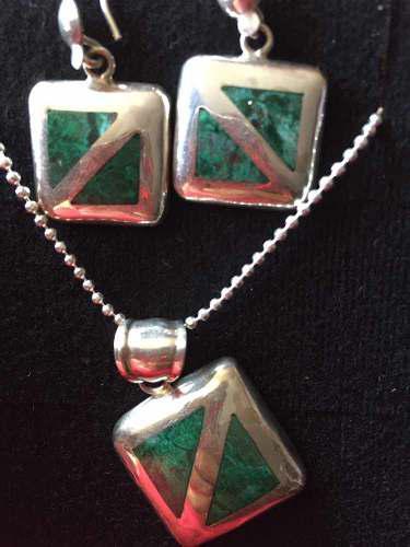 Arete y collar de plata 950 con piedra natural