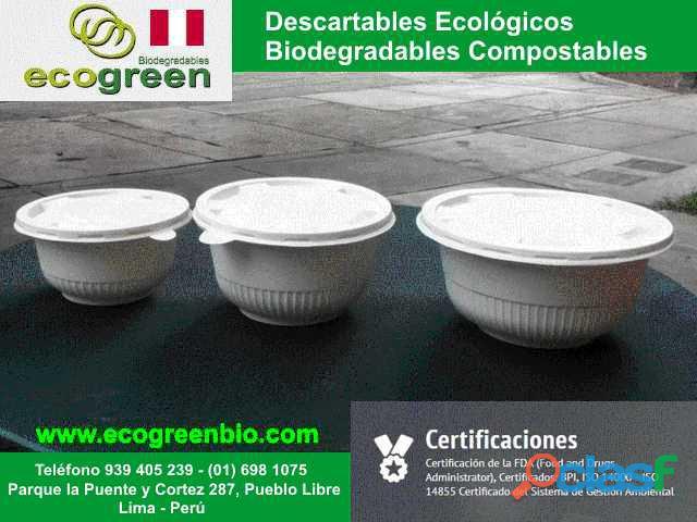 Envases descartables lima ecogreenbio perú biodegradables perù